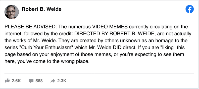 Directed By Robert B. Weide: Why Did His Name Became A Video Meme?